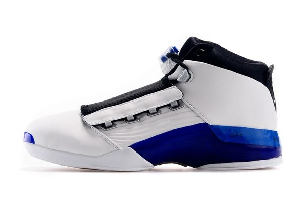 Air Jordan XVII (17) Retro Low White, University Blue, Black & Chrome Sneaker