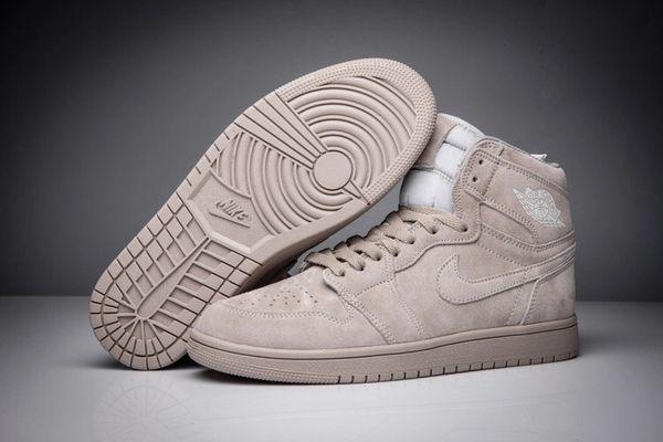 "NEW Air Jordan 1 Retro ""Deer Skin"" Grey Sneakers (Special Limited Edition)"