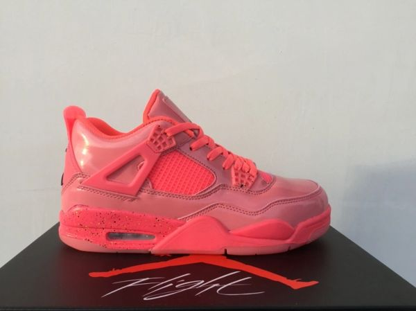 """NEW Nike Air Jordan 4 NRG """"Hot Punch"""" Pink Patent Leather Sneakers"""