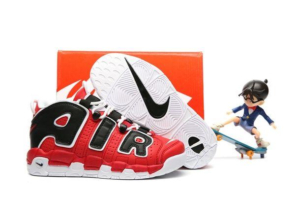 Nike Air More Uptempo 'Varsity Red & Black & White' Little Kids' Shoe