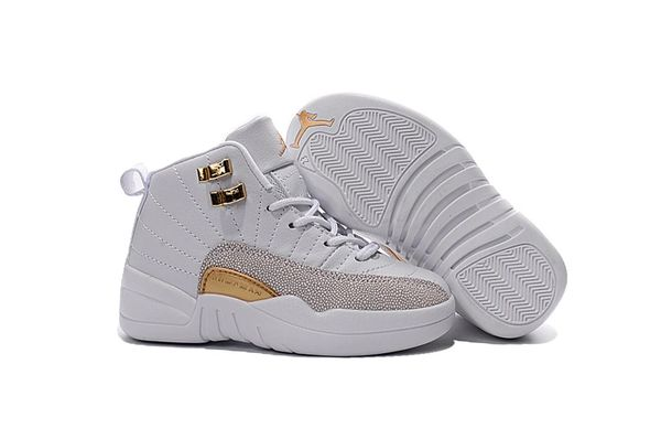 Air Jordan Retro 12 White/Metallic Gold Little Kids' Shoe