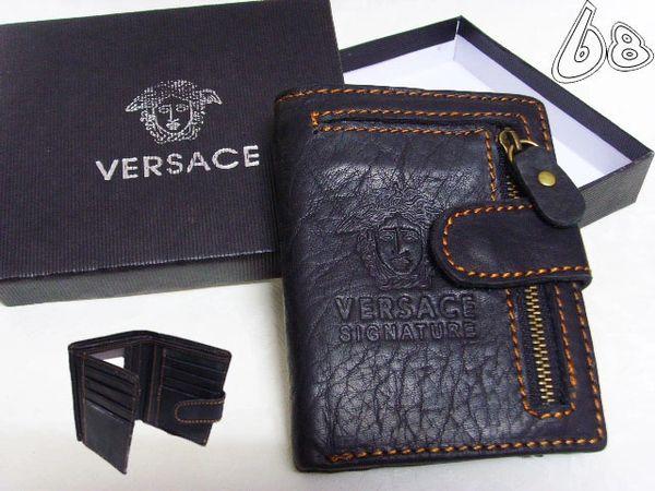 Men's Versace Custom Medusa Engraved Leather Wallet C