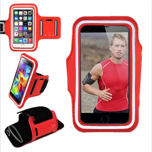 Armband, Universal Premium Water Resistant Jogging Sport Armband with Key Holder for Smart Phone, Red