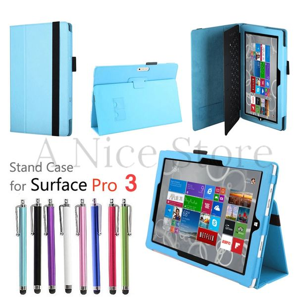 Microsoft Surface Pro 3 Premium PU Leather Folding Folio Stand Case Cover