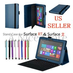 Microsoft Surface RT Surface 2 Tablet Premium PU Leather Folding Folio Stand Case
