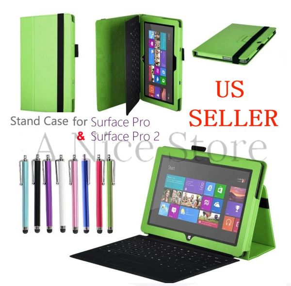 Microsoft Surface Pro and Surface Pro 2 Premium PU Leather Folding Folio Stand Case