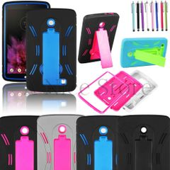 For LG G Pad F 7.0 LK430 Heavy Duty Armor Hybrid Kickstand Hard Soft Case Cover with Free Screen Protector and 1 Stylus Pen