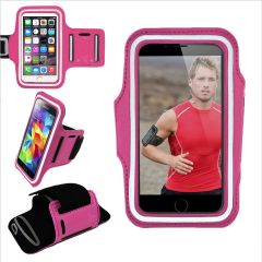 Armband, Universal Premium Water Resistant Jogging Sport Armband with Key Holder for Smart Phone, Pink