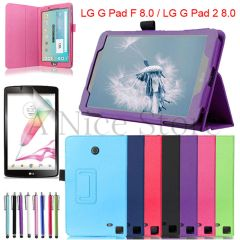 "For Lg G Pad F 8.0""/ G Pad 2 8.0"" Soft Leather Flip Case With Built In Kick Stand"