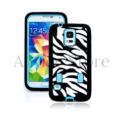 Samsung Galaxy S5 Hybrid Zebra Print Case with Built In Screen Protector