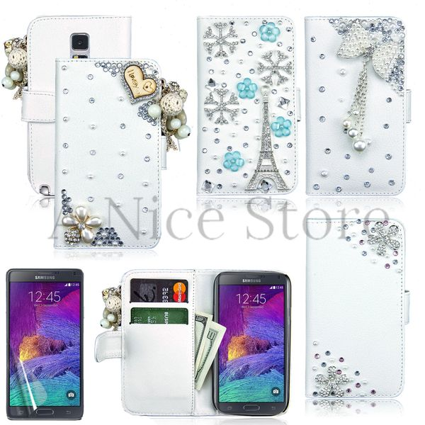 Samsung Galaxy Note 4 Luxury Magnetic Flip 3D Bling Handmade Leather Flip Wallet Case