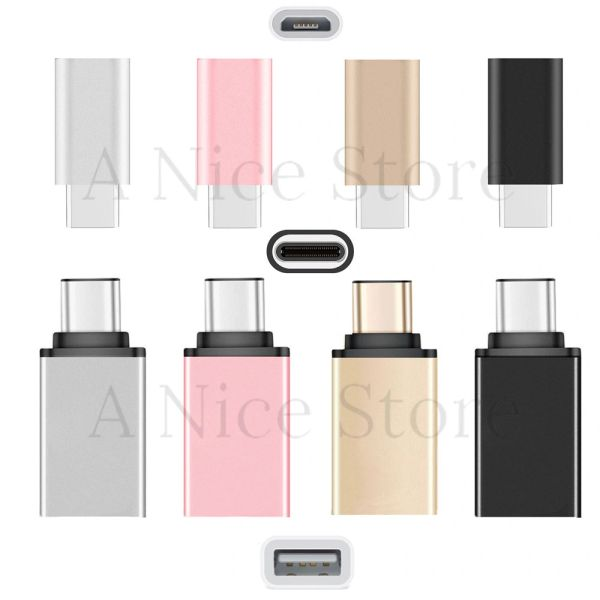 [2 in 1 Pack] Type C OTG, Type C to USB Adapter + Type C to Micro USB Adapter, Converts/Connects USB Type-C input/output to 3.0 USB/Micro USB, For Power/data/File transfer