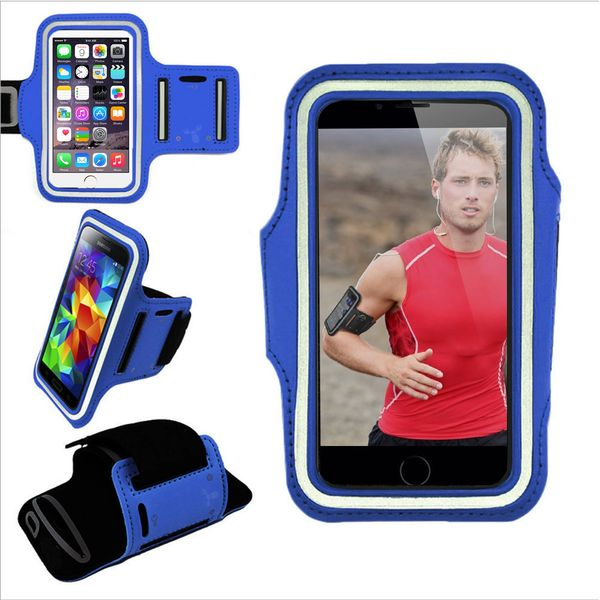 Armband, Universal Premium Water Resistant Jogging Sport Armband with Key Holder for Smart Phone, Blue