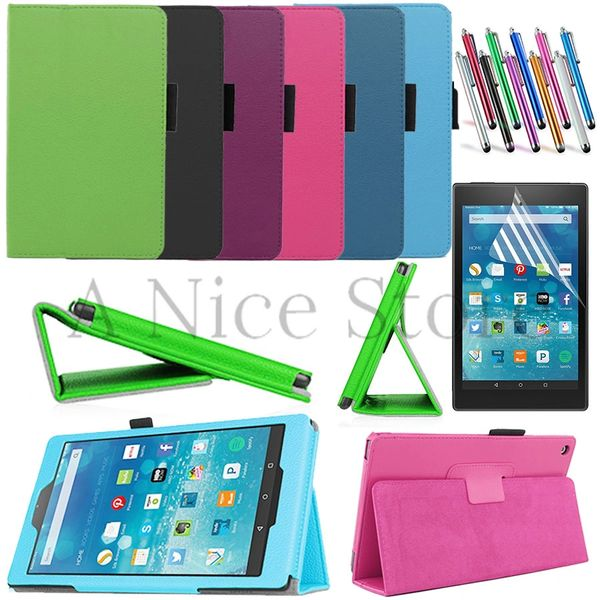 """Amazon Kindle Fire HD 8 8.0"""" Tablet 2015 New PU Leather Case Folio Cover Stand"""
