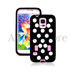 Samsung Galaxy S5 Hybrid Protective Polka Dot Case with Built In Screen Protector