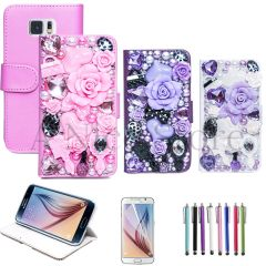 Samsung Galaxy S6 Handmad Luxury 3D Flower Fairy Flip Wallet Leather Stand Case