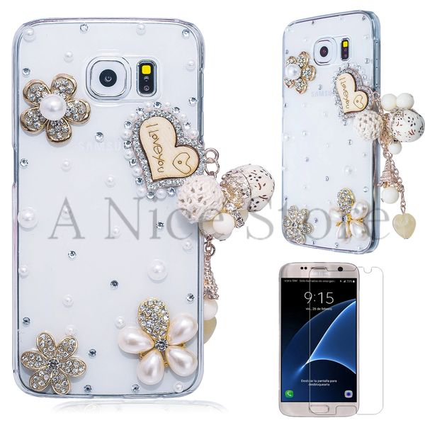 "Samsung Galaxy S6 Luxury 3D New Bling Handmade Crystal Glitter ""I Love You"" Design Case"
