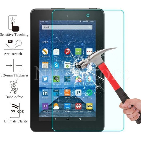 "Amazon Fire 7"" 5th Gen (2015) Tempered Glass Screen Protector, Bubble Free Scratch-Resistant"