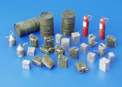 PLM114 Fuel Stock & Fire Extinguisher Accessories Unpainted Kit in 1:32/1:35 scale by Plusmodel