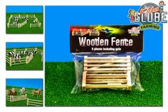 6 x Wooden Fence and Gate Set 1:32-1:24 Scale by Kids Globe 610667