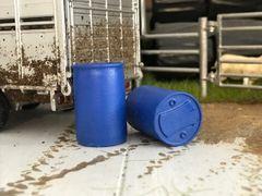 FB063 2x Blue Propcorn Barrels Drums 1:32 scale by HLT