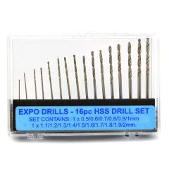 16pc Drill Set 0.5mm-2mm Set Expo Tools 11516
