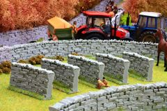 5 x Stone Walling Curved Sections by Brushwood 1:32 scale BT3020
