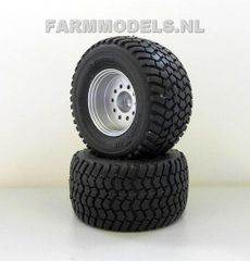 2 x Silver painted wheels/tyres Michelin Cargo X Bib 710/50 R30.5 tires, Ø 45.7 mm (aluminum rims) Artisan 34250 / Z + B