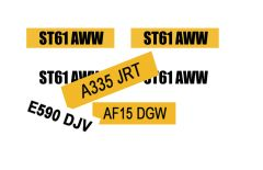 DEC05 Self-adhesive Standard Number Plate Decals Any Scale by HLT