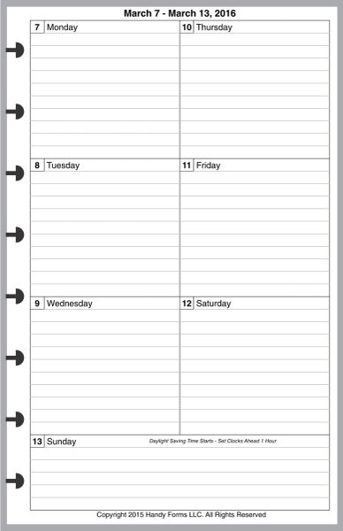 LVJ Weekly Planner, 1 Page per Week, 2 Pages per Month, with Lines (Style C)