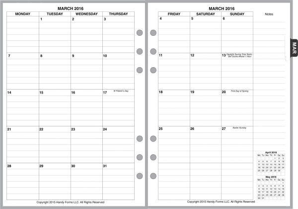 A5 Monthly Planner, 2 Pages per Month, 8-Columns, with Lines