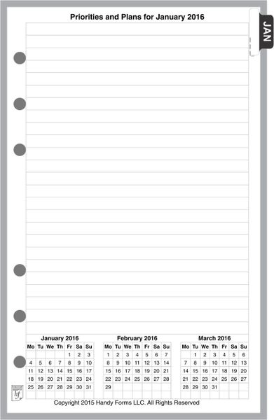 FCC Monthly Planner, 4 Pages per Month, No Lines