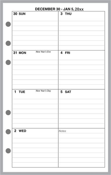 FCC Weekly Planner, 1 Page per Week, 2 Pages per Month, with Lines (Style D)