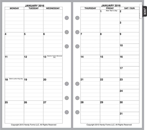 FPL Monthly Planner, 2 Pages per Month, 6 Columns, with Lines