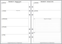 A5 Weekly Planner, 2 Pages per Week, 2 Pages per Month, No Lines. Style D.
