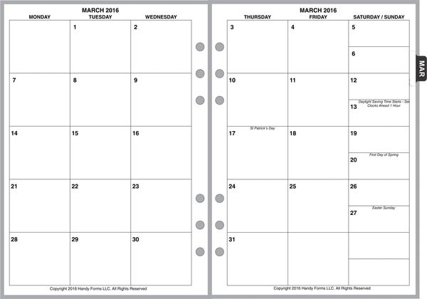 A5 Monthly Planner, 2 Pages per Month, 6-Columns, No Lines