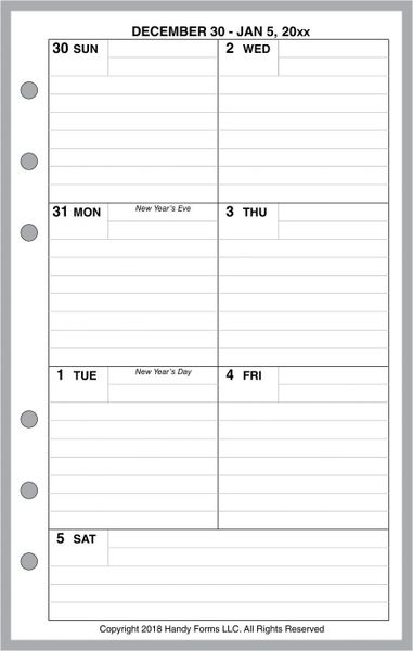 FCC Weekly Planner, 1 Page per Week, 2 Pages per Month, with Lines (Style C)