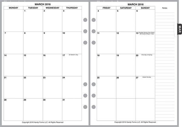 A5 Monthly Planner, 2 Pages per Month, 8-Columns, No Lines