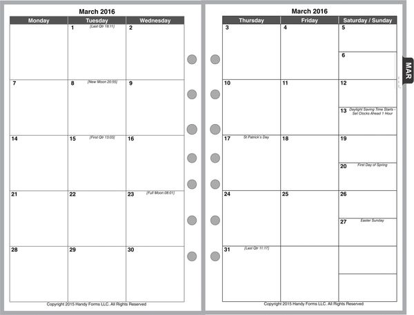 FCS Monthly Planner, 2 Pages per Month, 6-Columns, No Lines