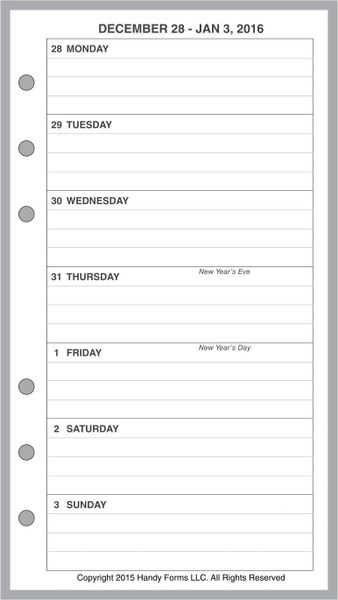 FPL Weekly Planner, 1 Page per Week, 2 Pages per Month, with Lines (Style A)