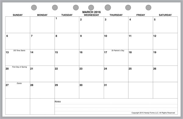 FCS Monthly Planner, 1 Page per Month, 7 Columns, Horizontal, No Lines