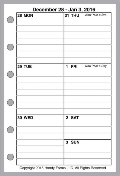 FPK Weekly Planner, 1 Page per Week, 2 Pages per Month, with Lines (Style B)