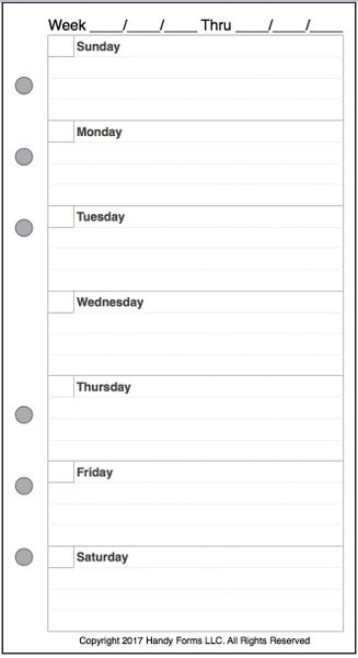 Personal Size Undated Weekly Planner, Custom Format