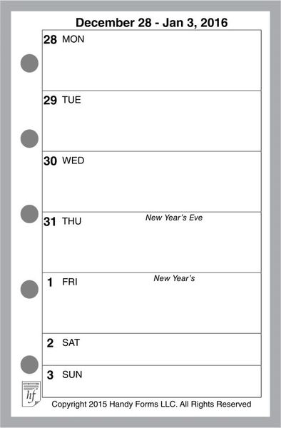 FMI Weekly Planner, 1 Page per Week, 2 Pages per Month, No Lines (Style H)