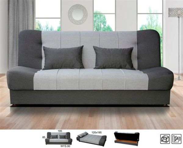 New Large Click Clack Sofabed Fabric With Storage 3 Seater