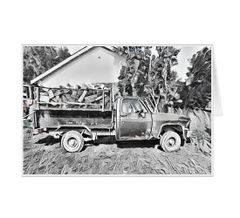 #F36| Around The Farm Greeting Cards | Old Ford Farm Truck