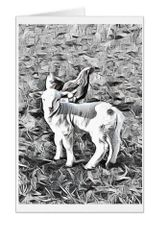 #F41| Around The Farm Greeting Cards | Baby Lamb With Hen