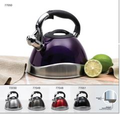 Crescendo 3.1 Qt Stainless Steel Whistling Tea Kettle with Capsulated Bottom - Metallic Cranberry