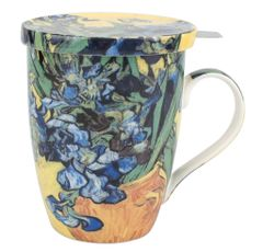 "Tea Mug w/Infuser and Lid Van Gogh ""Irises"""
