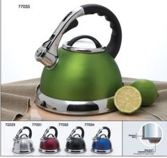 Camille 3.0 Qt Stainless Steel Tea Whistling Tea Kettle with Capsulated Bottom - All Stainless Steel